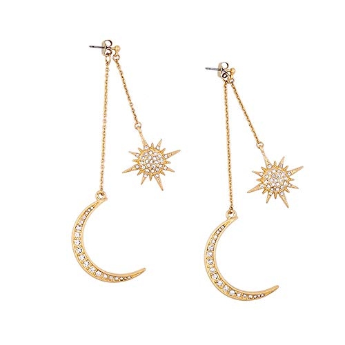- Fit&Wit Golden Resin Glaze Crystal Double Moon Stars Imitated Crystal Statement Earring (style 5)