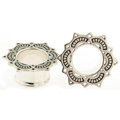 Pair of Silver Lotus Drop Eyel