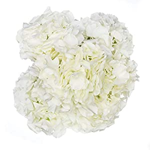 Royal Imports Hydrangea Flowers Artificial Fake Silk Bunch of 6 Heads for Bouquets, Weddings, Valentines, Wreaths, Crafts, Ivory 79