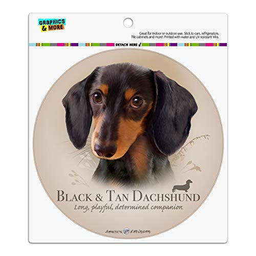 Black and Tan Dachshund Wiener Dog Breed Automotive Car Refrigerator Locker Vinyl Circle Magnet