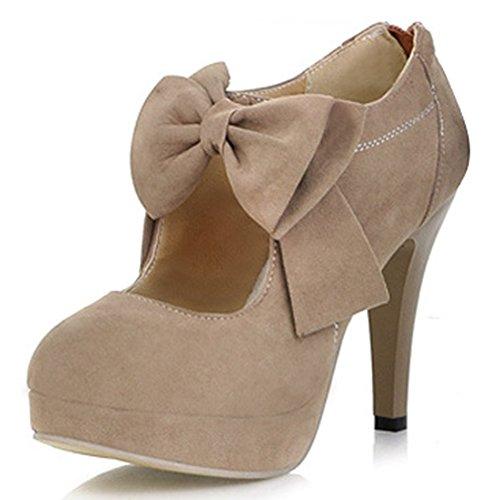 IDIFU Women's Elegant Bow Cut Out Stiletto High Heels Back Zipper Platform Pumps Boots