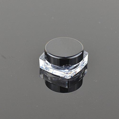 3g Glitter (Teensery Square Shape 3g 3ml Empty Acrylic Cosmetic Cream Pot Jar Makeup Lip Balm Glitter Eye Shadow Sample Storage Container With Black Lid (25 pcs))