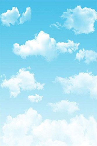 Laeacco Customizable 3x5ft Thin Vinyl Photography Backdrop Blue Sky and Clouds Scenery 1*1.5m Computer-Print Seamless Photo Background Studio Props
