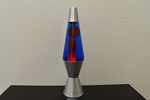 Lava Lamp 14.5-Inch Silver Base Lamp with Red Wax in Blue Liquid