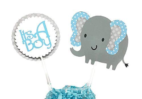 Baby Its a Boy Elephant Baby Shower Decorations Centerpiece Sticks Blue /& Gray Polka Dot Elephant Cake Toppers Party Decorations Elephant Centerpieces
