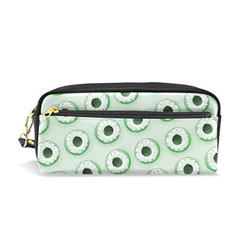 La Random Green Donuts Pencil Case PU Leather Large Capacity
