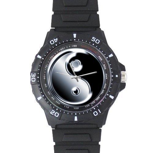ts Classic Black and White YinYang Black Plastic High Quality Watch 100% Plastic Quartz Watch ()