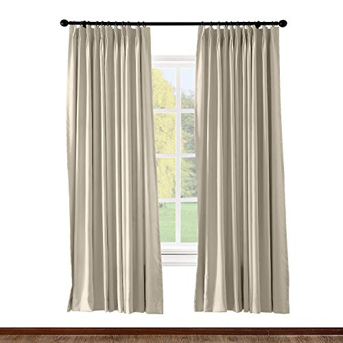 (ChadMade Pinch Pleated Curtain 100W x 84L Inch Solid Thermal Insulated Blackout Patio Door Panel Drape for Traverse Rod and Track, Beige (1 Panel))