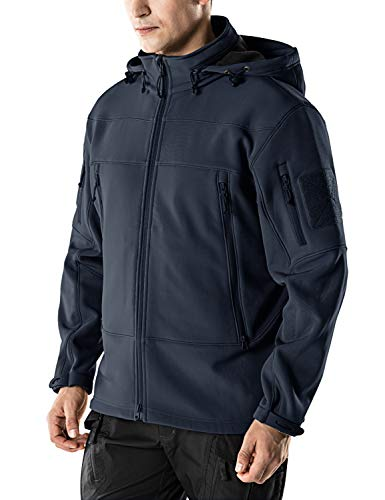 CQR Men's Tactical Softshell Hoodie Hiking Hunting EDC Lightweight Fleece Coat Jacket, Packable Hood(hok802) - Navy, 2X-Large