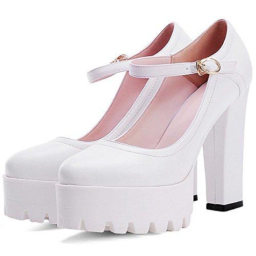 LongFengMa Women Block Heels Pumps Classic Retro Platform Heeled Shoes Ankle Strap White Sas8z9