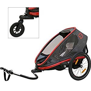Hamax Outback Multi-Sport Child Bike Trailer + Stroller 2018 Non-Reclining Model (Jogger Wheel Sold Separately) (One Seat, Charcoal/Red)
