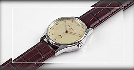 bergmann vintage classic mens business watch old man style brown bergmann vintage classic mens business watch old man style brown leather yellow gold dial 1951 amazon co uk watches