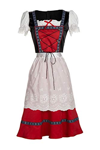 Yacun Women's German Dirndl Dress Bavarian Oktoberfest Maid Costumes Black 3XL (Yacun Women Dress)