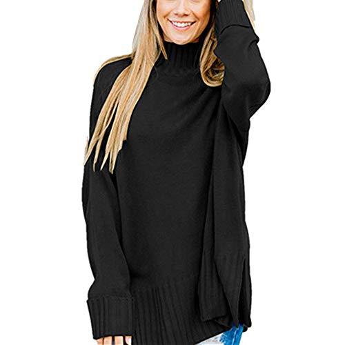 Sunhusing Womens Loose Casual High Neck Long Sleeve Split Hem Sweater Pullover Tops Shirt