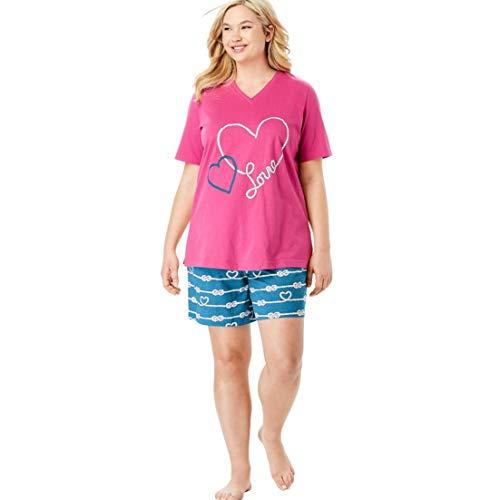 Dreams & Co. Women's Plus Size V-Neck Shorty Pj Set - River Blue Hearts, 2X