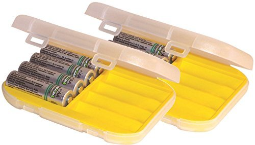 Malamute Rugged AA Battery Organizer - 8 cell AA Hard Shell Storage Case, Traction Feet, Made in the USA (2-Pack Yellow)
