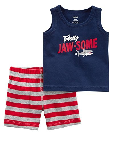 - Carter's Baby Boys 2 pc Cotton Tank Top and Shorts Set Shark Embroidered on Behind (6M)