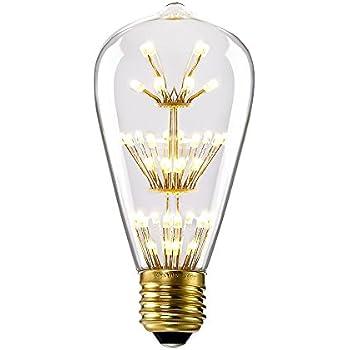 kiven st64 vintage edison design a19 e26 2200k warm white retro energy save beautiful and romantic starry decorative 3w led light bulbs for holiday - Decorative Light Bulbs