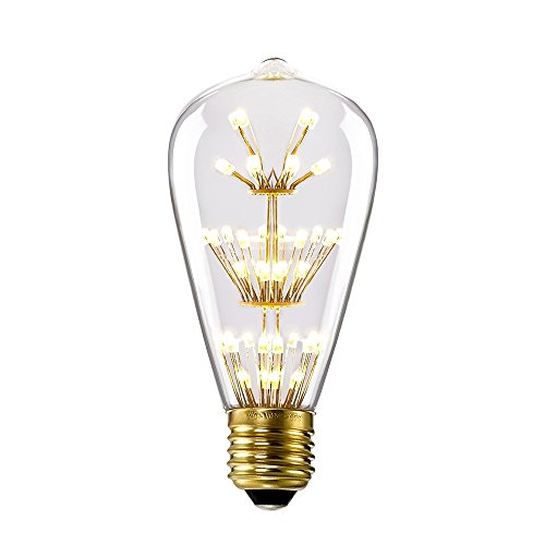 (Kiven ST64 Vintage Edison Design A19 E26 2200K Warm White Retro Energy Save Beautiful and Romantic Starry Decorative 3W LED Light Bulbs for Holiday Christmas Indoor Party Antique 110V Not Dimmable)