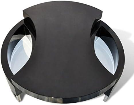binzhoueushopping Table Basse de Forme réglable Noir Brillant Table de Salon Moderne Table Basse Table de Salon Design