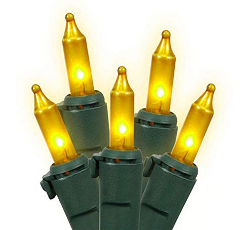 Brite Star Set of 100 Opaque Gold Mini Christmas Lights - Green Wire (Gold Lights Christmas Outdoor)