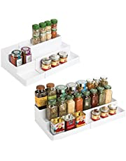 mDesign - Kruidenrek - bergruimte in keukenkastjes/cosmeticarek - uittrekbaar/3 etages/voor orde in de keuken -per 2 stuks verpakt