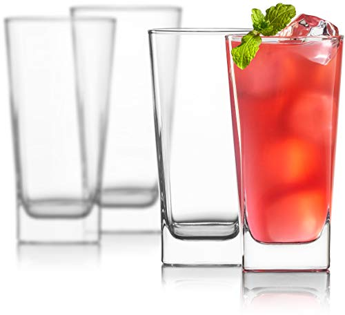 Hi Ball Glass Set - Highball Glasses [Set of 4] + 4 Stainless Steel Straws | Lead-Free Crystal Clear Glass | Elegant Drinking Cups for Water, Wine, Beer, Cocktails and Mixed Drinks | Round Top, Square Bottom
