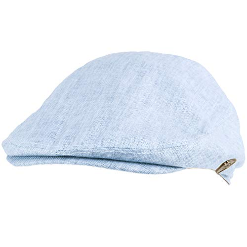 (Men's Summer 100% Linen Front Snap Flat Golf Ivy Driving Cap Hat L/XL Sky Blue)