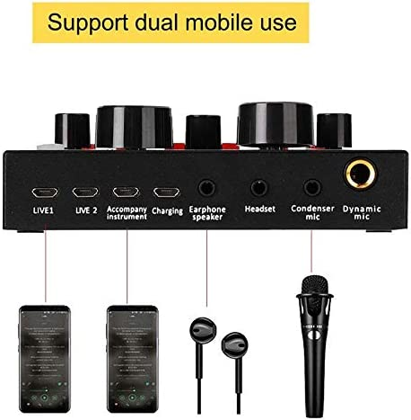 Live Sound Card,V8 Bluetooth Voice Changer Device for Phone//PC,Mini Sound Mixer Board for Live Streaming with Multiple Sound Effects