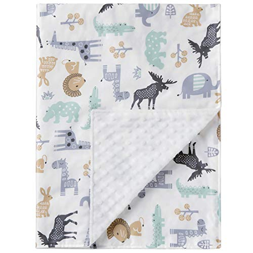 Super Soft Baby Printed Organic Cotton Mink Nursery Blanket with Dotted Plush Velboa Fabric Backing, Blanket Animal World 31