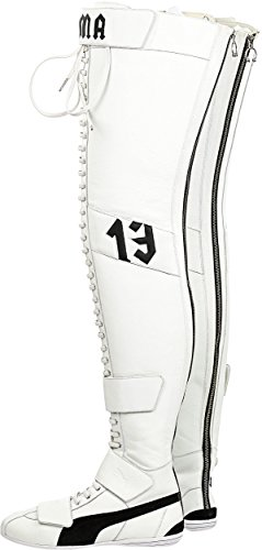 PUMA Women's Eskiva Over The Knee by Rihanna White/Black Thigh-High Leather Boot - 8.5M by PUMA