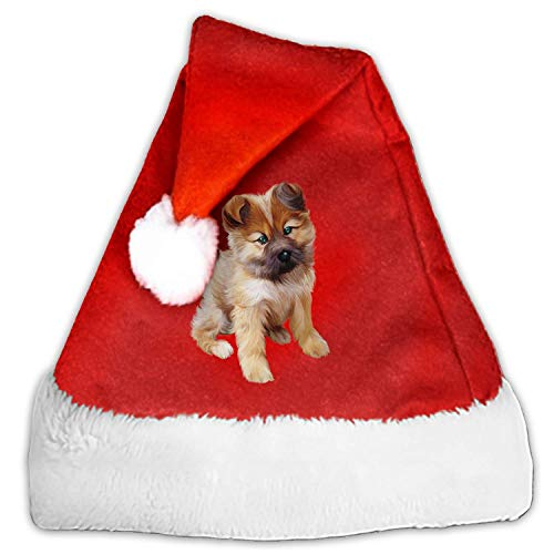 1 Pack Puppy Santa Hat Adult/Kid Size Winter Plush New Years Xmas Christmas Party Santa Hats Cap]()