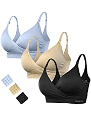 HOFISH 3 Pack Seamless Clip Down Deep V Neck Push Up Nursing Bra Maternity Bras 3PACK Inlcuding Extenders & Clips