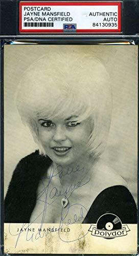 JAYNE MANSFIELD Coa Hand Signed Vintage Photo Postcard Autograph - PSA/DNA ()