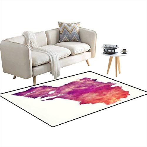 (Area Rugs for Bedroom Goa Federal State Watercolor map of India in Front of a White Background 48