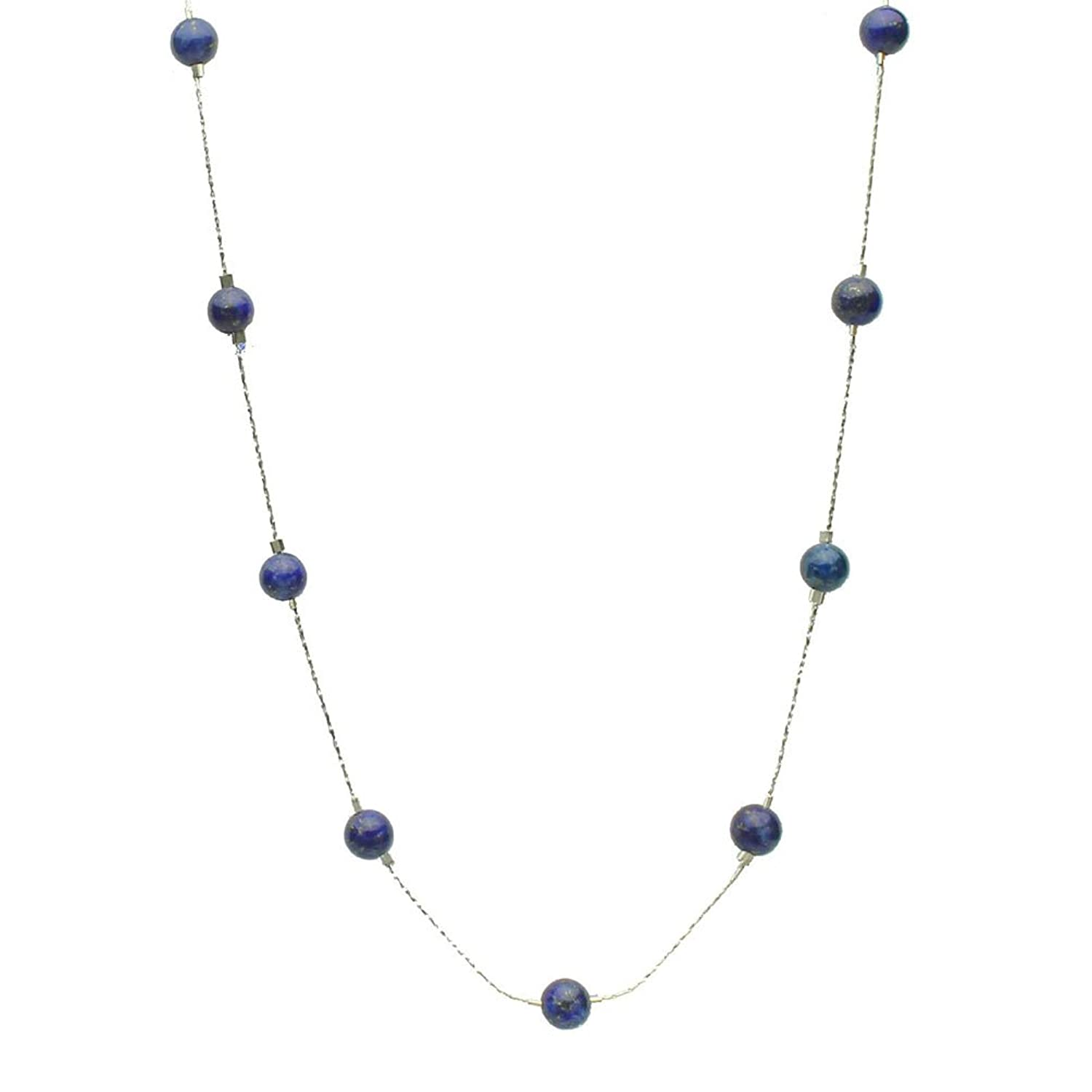 lapis stone necklace beads silver illusion jewelry blue amazon sterling com chain dp bead station