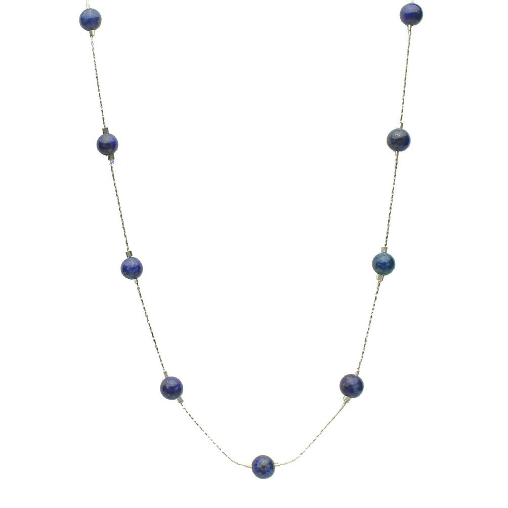 Blue Lapis Stone Beads Station Illusion Sterling Silver Chain Necklace, 20''