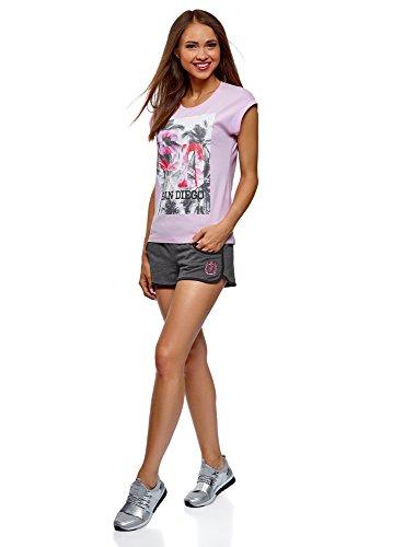 Ultra Grigio Pantaloncini 2525b Con Cotone Donna Ricamo In Oodji 4xwcdq7E07
