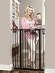 Regalo Easy Step Extra Tall Walk Thru Baby Gate, Bonus Kit, Includes 4-Inch Extension Kit, 4 Pack of Pressure Mount Kit and 4 Pack of Wall Cups and Mounting Kit, Black