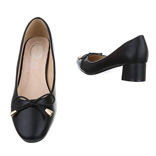 ... Ital-Design Komfort Pumps Damen Schuhe Geschlossen Blockabsatz Bequeme  Pumps Schwarz