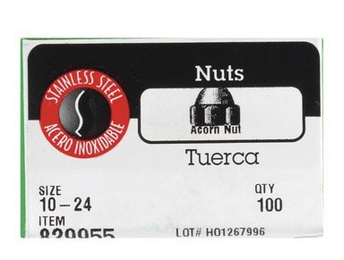 The Hillman Group 829955 10 by 24-Inch Stainless Steel Acorn Nut 100-Pack