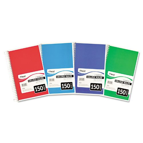 Mead College Ruled 3 Subject Spiral Notebook (Pack of 4)