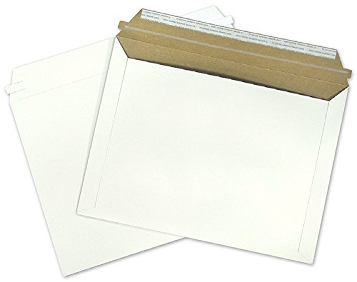 25 Pack Rigid 12.5 x 9.5 Paperboard mailers, opening on longest side. Stay flat envelopes. White photography mailer. No bend documents, photo, prints. Peel and Seal, Redi-Strip. Fiberboard & cardboard (Print Photo Envelopes)