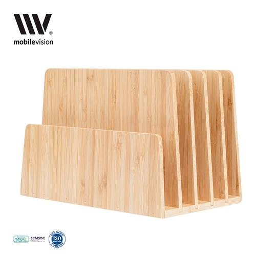 Bamboo Desktop - MobileVision Bamboo Desktop File Folder Organizer and Paper Tray, 5 Slots