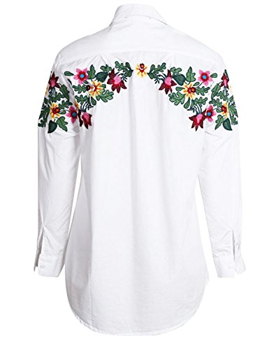 Simplee Apparel Women's Long Sleeve Turn Down Collar Button up Flower Embroidered Shirt Cotton Blouse Top White Blanco
