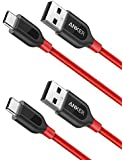 [2-Pack] Anker PowerLine+ USB-C to USB A 2.0 Cable, for Samsung Galaxy Note 8, S8, S8+, MacBook, Nintendo Switch, Sony XZ, LG V20 G5 G6, HTC 10, Xiaomi 5 and More (3ft) (Red)