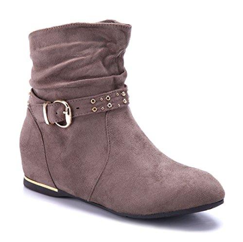 Schuhtempel24 Damen Schuhe Keilstiefeletten Stiefel Stiefeletten Boots Keilabsatz Schnalle/Nieten 4 cm Khaki