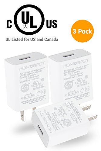 d USB Wall Charger 5V1A Plug In-door Power AC Adapter 3 Pack Travel Office Home Use - White ()