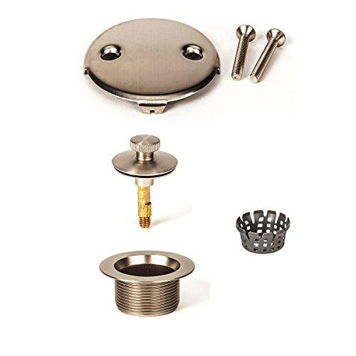 PF WaterWorks Lift Turn (Twist Close) Bathtub/Bath Tub Drain Trim Kit (Drain + Stopper + Two (2) Hole Face Plate) - Coarse 11.5 TPI - FREE Hair Catcher; Brushed Nickel; PF0967-BN-LT-C