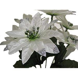 "4 Bushes White Christmas Poinsettia Artificial Silk Flower 12"" Bouquet 7-2209 WT 120"